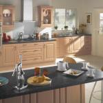 Beech modern budget kitchen at Anne Wright Kitchen Design, Colchester, Essex